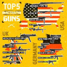 We carried out a review of search data in the UK, USA and Germany to find the top 5 most popular deactivated and collectable guns. We hope you like our infographic!