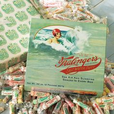 "FRALINGER'S ORIGINAL SALT WATER TAFFY ""Joseph Fralinger took over a concession stand on Applegate Pier in Atlantic City around 1884,"" ...and began ""to perfect his very own taffy recipe. ""  ""Enoch James and Joseph Fralinger are the most famous names in salt water taffy... classic sweets...continue their traditions and carry all their creations, from ""cut-to-fit-the-mouth"" and ""long-shape"" to chocolate sealed and filled center taffy. CUSTOMIZE THE FLAVORS IN YOUR BO"