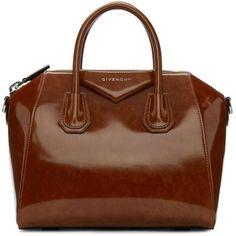 Givenchy Brown Small Glazed Antigona Bag ($2,925) ❤ liked on Polyvore featuring bags, handbags, brown, genuine leather duffle bag, leather duffle bag, leather handbags, leather purses and brown handbags