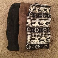 Winter Tights Bundle 3 pairs of warm tights. One gray from Steve Madden, one brown from H&M, and one winter-themed. All size small Steve Madden Pants