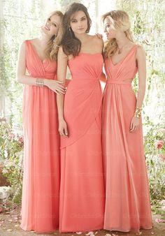 coral bridesmaid dresses, chiffon bridesmaid dress, long bridesmaid dress, cheap bridesmaid dresses, bridesmaid dress 2015, BM019