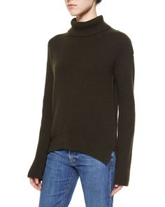 Cashmere-Wool Turtleneck Sweater, Olive (Green), Women's, Size: XS - Helmut Lang