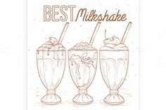 Scetch set milkshakes by Netkoff on Pencil Illustration, Graphic Illustration, Illustrations, Best Milkshakes, American Children, Fast Food Restaurant, Creative Sketches, Paint Markers, Business Card Logo
