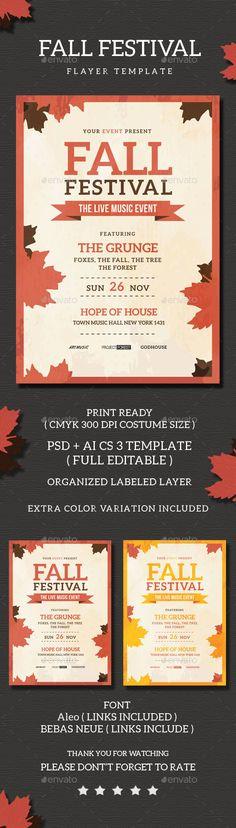 Fall Festival Flyer Template PSD #design Download: http://graphicriver.net/item/fall-festival-flyer-template/13513624?ref=ksioks