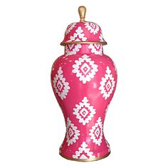 Inspired by ancient Chinese designs, this Dana Gibson Block Print ginger jar adorns tabletops and shelves with captivating style. A hand-painted geometric motif adorns this painted toleware container, exuding versatile elegance in a variety of modern hues Jar Image, Pink Ginger, Pink Dragon, Makeover Tips, Chinese Design, Game Room Decor, Ginger Jars, Home Interior Design, Vases