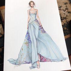 Designer Illustrates Gorgeous Gowns in Enchanting Detail fashion designer - Fashion Dress Design Sketches, Fashion Design Drawings, Fashion Sketches, Fashion Drawing Dresses, Fashion Illustration Dresses, Fashion Dresses, Drawing Fashion, Fashion Illustrations, Arte Fashion