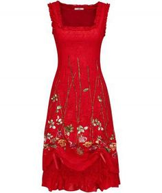 """Channel the lively latin spirit in this smouldering dress. We've brought together beautiful embroidery and added a sexy corset back and an adjustable hitched hem, for a style you can make all your own. Team it with your favourite heels and paint the town red. Approx Length: 109cm Our model is: 5'7"""""""
