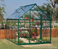 Palram Harmony Green Greenhouse 8x6  http://www.greenhousestores.co.uk/Palram-Harmony-6-x-8-Green-Greenhouse-Clear-Polycarbonate-Glazing.htm