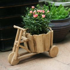 DIY creative ideas flowerpot handmade wooden carts green flower pots vases three home gardening