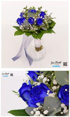 Hochzeit - Brautstrauß mit blauen Rosen, Eukalyptus und Schleierkraut Jewelry, Decor, Fresh Flowers, Hair Jewelry, Dekoration, Jewlery, Decoration, Jewerly, Schmuck