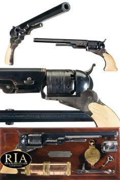 Profoundly Rare and Equally Magnificent Cased Colt No. 5 Texas Paterson with 6 Silver Bands Barrel, Loading Lever and Shell Carved Ivory Grips Weapons Guns, Guns And Ammo, Survival Rifle, Black Powder Guns, Silver Bands, Steampunk Weapons, Shooting Guns, Fire Powers, Military Guns