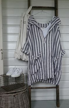 Navy and White Striped Linen Dress One size Fits by MegbyDesign Striped Linen, Striped Tops, Floaty Dress, Layered Fashion, Gingham Check, Stripes Fashion, Street Style Summer, Long Tops, Dress First