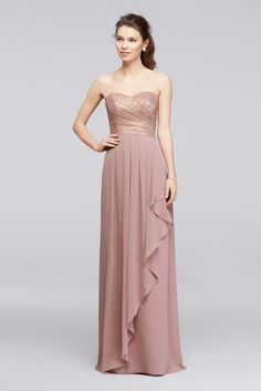 Lace Long Sweetheart Metallic Ruffled Bridesmaid Dress - Rose Gold Metallic, 14