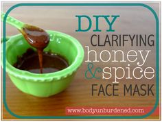 1 teaspoon of raw honey,  1/2 teaspoon of cinnamon, 1/2 teaspoon of nutmeg. If your raw honey is in a semi-solid state (most typically is), melt it. Mix in the cinnamon and nutmeg, and stir the ingredients together until you have a smooth paste. apply a thin later of the mask over your face, avoiding the eye area. Leave the mask on for about ten minutes and then wash it off.