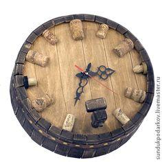 Купить часы Бочка - часы настенные, часы для дома, предмет интерьера, коричневый, подарок мужчине