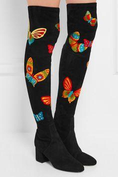 Overknees aus Stretch-Veloursleder mit Applikationen von Valentino #valentino #schmetterlinge #butterfly #shoes