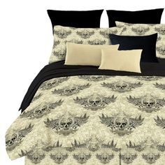 (Click to order - $39.99) Street Revival Winged Skull Twin Comforter Set, Multi From Street Revival