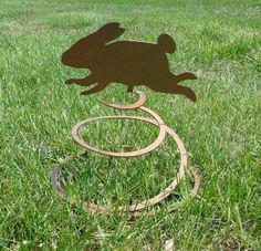 Bunny Rabbit Spring Garden Metal Art - Free USA Shipping