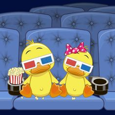 Illustration about Two Cute Ducks is sitting at the Cinema. Illustration of glasses, painting, quarter - 52352629 Duck Cartoon, Baby Cartoon, Pictures To Paint, Art Pictures, Duck Wallpaper, Duck Drawing, Bird Clipart, Duck Art, Baby Ducks