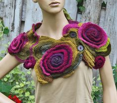 Crochet Scarf Freeform crochet Roses Button Womens scarf door Degra2