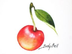 Golden Rainier Cherry Fruit Print From by judithbelloriginals, $12.00