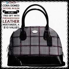 """COACH CORA DOMED SATCHEL in GLEN PLAID COACH CORA DOMED SATCHEL in GLEN PLAID coated canvas. Silver/black/maroon/white plaid. Inside zip pocket. Two other pockets for cellphone, etc. The back of the purse has a pocket as well. Zip closure with two zippers for adjusting to your style of closure. Handles with 4 3/4"""" drop. includes a longer, detachable strap w/21 1/2"""" drop for shoulder/crossbody wear. This purchase includes a free gift with purchase (Coach leather moisturizer)Unwrapped only for…"""