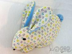 Rabbit - Plush - softy - Turquoise cotton and fleece