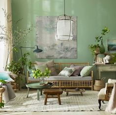 Living trends for the year 2017 dezente-wandfarbe-grün, Room Colors, Living Room Green, Room Decor, House Interior, Living Room Decor, Home, Interior Design Living Room, Interior, Retro Home Decor