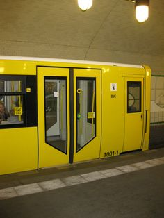 Yellow underground train, Berlin, Germany