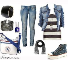Outrageously Gorgeous high fashion jean jacket topped with Stripped Tank, Skinny Blue Jeans with 1 inch high Converse, Scarf, several fashionable bracelets, and a White/Blue strapped shoulder bag, Finished off with a Royal Mohamed Violet Blue Nail-Polish.