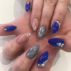 Triple Toned Nails With Some Crystals