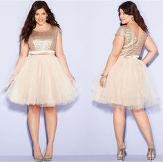 Denise Bidot in Trixxi Plus Size Dress, Cap-Sleeve Sequin Tulle A-Line
