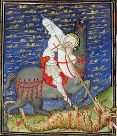 Medieval Manuscript, Medieval Art, Illuminated Manuscript, 7 Arts, Saint George And The Dragon, Religious Paintings, Dinosaur Art, Book Of Hours, Dragon Slayer