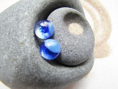 Blue Stud earrings, Water's Edge Blue Glass Studs,  Royal Blue and Baby Blue Fused Glass Posts, Water Blue Studs, Gift Scuba Diver, Michigan Artist - Handmade post earrings on Etsy  September Birthday