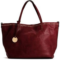 Burgundy Studded Handbag ($36) ❤ liked on Polyvore featuring bags, handbags, burgundy, faux leather handbags, red hand bags, faux leather purses, hand bags and top handle purse