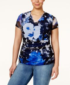 Inc International Concepts Plus Size Printed Ruched Mesh Top, Only at Macy's