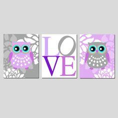Owl Love Floral Baby Girl Nursery Art Trio Set of Three Owl Nursery Decor, Floral Nursery, Nursery Prints, Nursery Art, Girl Nursery, Owl Room Decor, Owl Bathroom Decor, Project Nursery, Bathroom Ideas