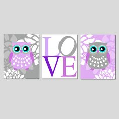 Modern Owl Love Floral Trio - Set of Three 11x14 Nursery Prints - Choose Your Colors - Shown in Lilac Purple, Aqua, Gray, and More. $59.50, via Etsy.