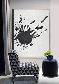 Black and white abstract painting minimalist art on canvas #MN13B, modern art by CZ ART DESIGN @CelineZiangArt