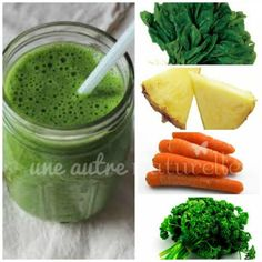 Green Smoothie Recipe - Carrot, Spinach, Kale, Pineapple | Une Autre Naturelle
