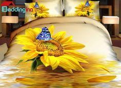Charming sunflower and butterfly duvet cover set #sunflower #duvetcover #homedecor #beddinginn Live a better life, start with Beddinginn http://www.beddinginn.com/product/Charming-Sunflower-And-Blue-Butterfly-Print-4-Piece-Duvet-Cover-Sets-10987568.html