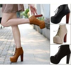 NEW Ladies Brown Lita platforms high heels Lace Up Ankle shoes boots US Ankle Shoes, Lace Up Ankle Boots, Heeled Boots, Platform Boots Outfit, Shoe Boots, Lace Pumps, Chunky High Heels, Designer Boots, Types Of Fashion Styles