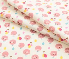 Digital Textile Printed Cute Bears Cotton by the yard width