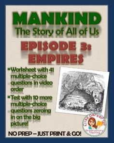 Mankind the Story of All of Us Episode 3 Worksheet and Quiz: Empires Creative Teaching, Teaching Art, Student Learning, High School Art, Middle School Art, Music Worksheets, History Teachers, Art Lessons Elementary, History Channel