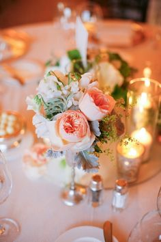 #centerpiece, #candle  Photography: Lane Dittoe - lanedittoe.com/ Floral Design: Holly Flora - hollyflora.com/ Event Planning: Brooke Keegan Weddings and Events - brookekeegan.com  Read More: http://www.stylemepretty.com/2013/03/27/newport-coast-wedding-from-brooke-keegan-weddings-and-events/