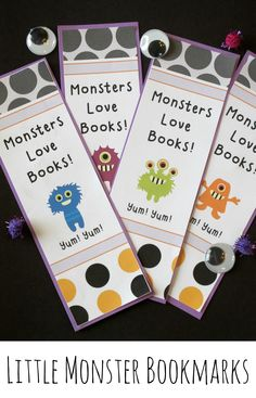 Eek! Little Monster Bookmarks are perfect for October reading rewards or Halloween party favors. (Free)