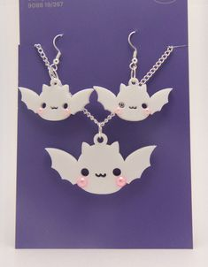 Kawaii bat earrings and matching pendant - cute but spooky! Comes in a variety of colors. Resin accents may vary; custom resin accents are available; request them through the custom tab! Kawaii bats are an original design and are (c) Heather Hall. Pastel Goth Fashion, Kawaii Fashion, Lolita Fashion, Cute Fashion, Kawaii Jewelry, Goth Jewelry, Jewlery, Diy Jewelry, Harajuku