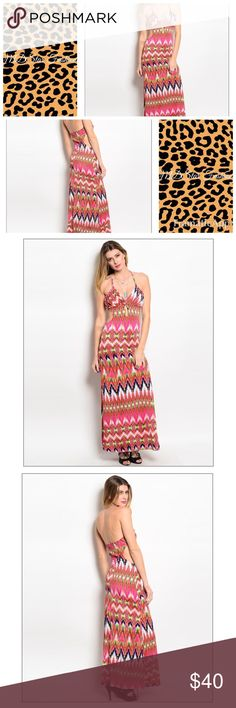 Pink and orange maxi dress  Gorgeous maxi dress! Dress has cut outs at waistline. Perfect for summer festivals! 96% Polyester 4% Spandex. NWOT Dresses Maxi
