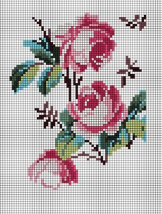 Tapestry crochet square or whole blanket Mini Cross Stitch, Beaded Cross Stitch, Cross Stitch Rose, Cross Stitch Flowers, Cross Stitch Charts, Cross Stitch Designs, Cross Stitch Embroidery, Embroidery Patterns, Cross Stitch Patterns