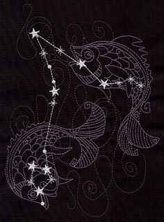 Ecliptic Constellations 1 Square Embroidered Quilt by remimartin